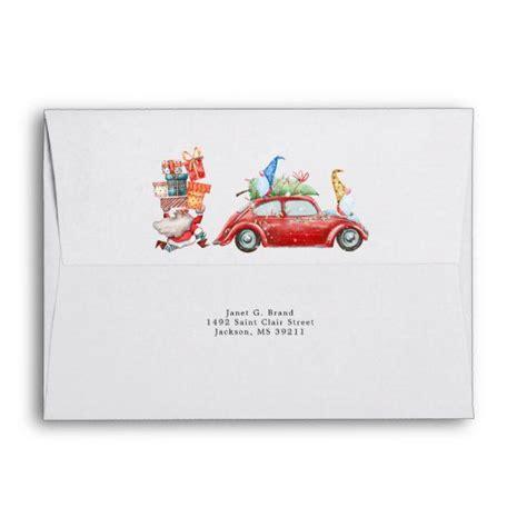 cute gnomes santa pre addressed christmas envelope