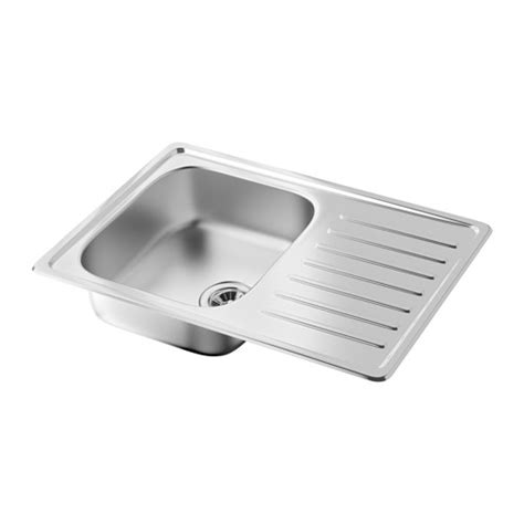 ikea stainless steel sink fyndig 1 bowl inset sink with drainer stainless steel
