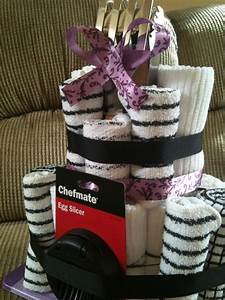 kitchen towel cake bridal shower gift