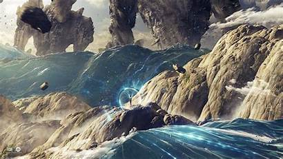 Floating Island Fantasy Sea Planet Digital Artwork