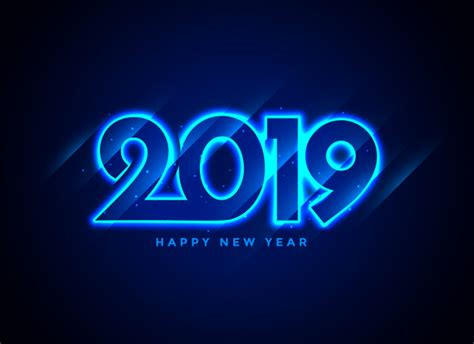 happy  year neon text background vector