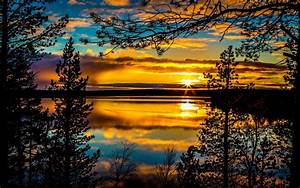 Sunrises, And, Sunsets, Sky, Rivers, Clouds, Trees, Hdr, Nature