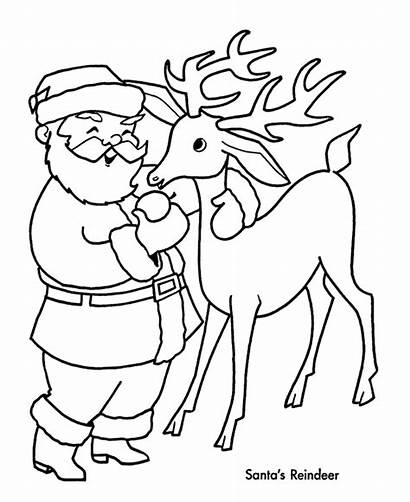 Reindeer Coloring Pages Santa Christmas Claus Drawing