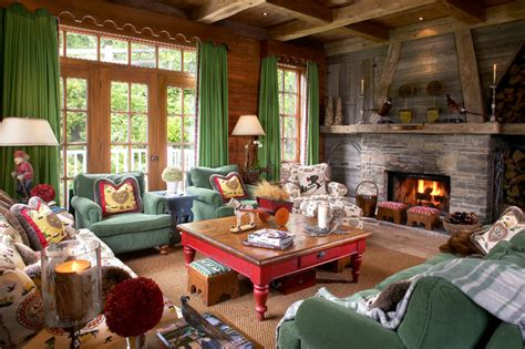 Pottery Barn Style Living Room Ideas by Cottage Chalet Rustic Living Room Montreal By