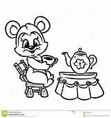 Breakfast Coloring Tea Bear Cartoon Omelet Contour Sketchite Credit Larger sketch template