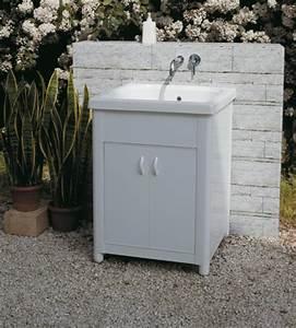 Lavatoi per esterno : Lavatoio per esterno in Ceramica Corallo 60x50 con strizzatoio