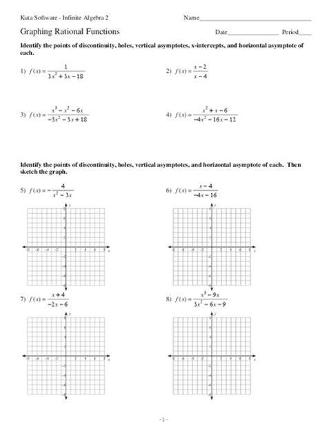 graphing rational functions worksheet for 11th grade