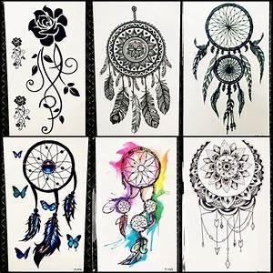 Black Henna Dreamcatcher Temporary Tattoo Sticker Women ...