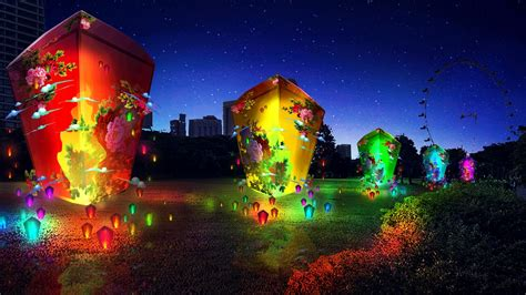 mythical lantern displays light  gardens   bay
