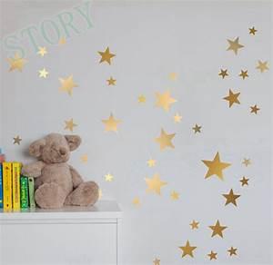 Gold stars wall decal vinyl stickers golden star kids