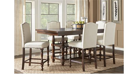 Stanton Cherry 7 Pc Counter Height Dining Room With Ivory