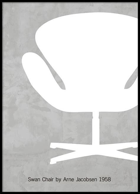 modern poster  design chair swan chair print