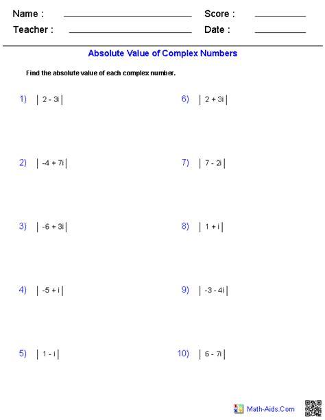 algebra 2 worksheets complex numbers worksheets