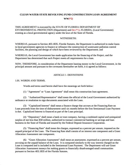 construction loan agreement samples   ms word
