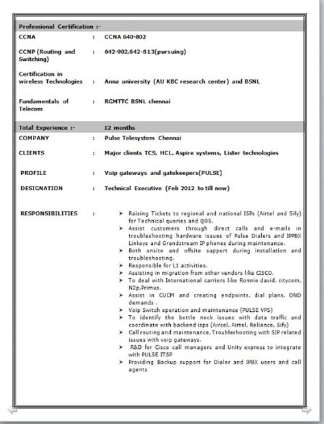 Ccnp Resume For Freshers by Network Engineer Resume Format