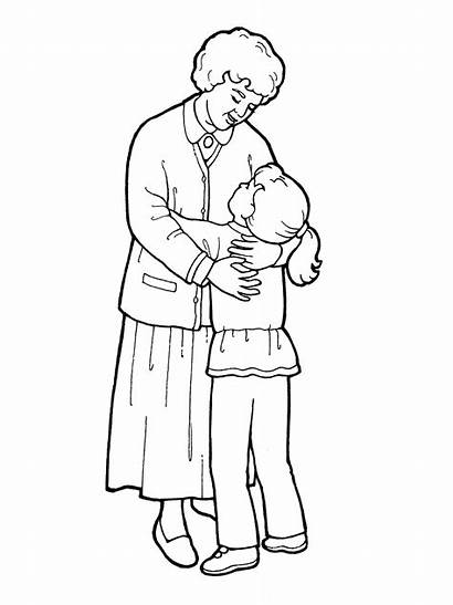 Grandmother Coloring Pages Hugging Drawing Hug Lds