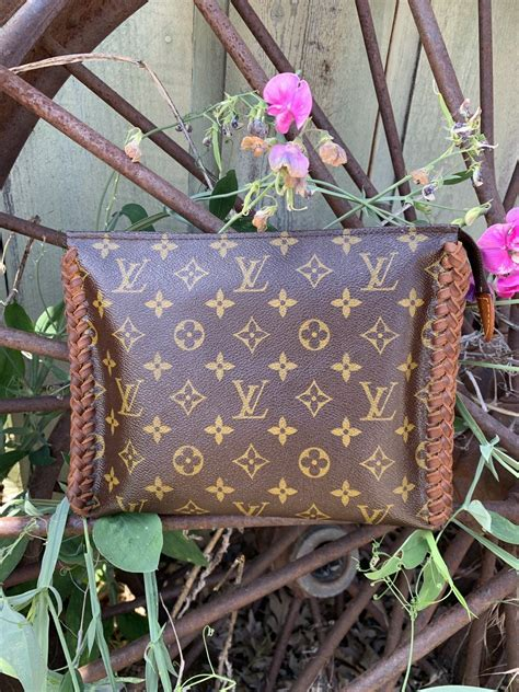 leather accented toiletry  clutch revamped ready
