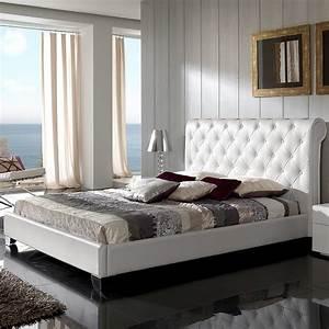Lit Blanc Adulte : lit capitonne blanc ~ Teatrodelosmanantiales.com Idées de Décoration