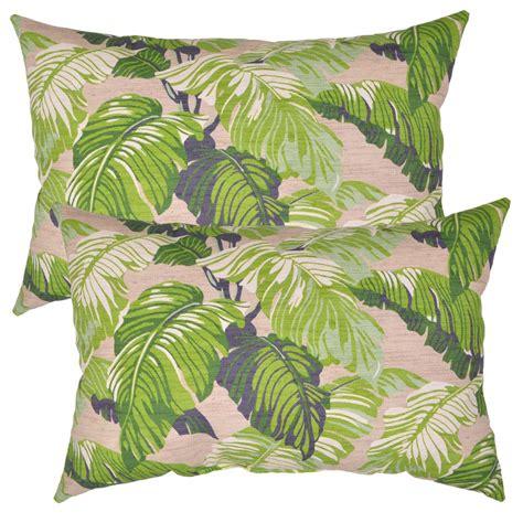 tropical outdoor pillows fern tropical lumbar outdoor throw pillow 2 pack 7955
