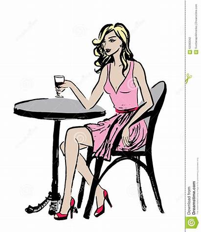 Cafe Woman Sitting Paris Clip