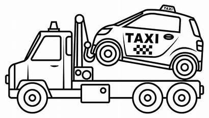 Coloring Truck Trucks Taxi Mobil Mewarnai Gambar