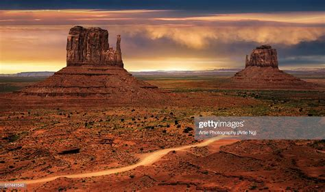 The East And West Mitten Buttes Of Monument Valley