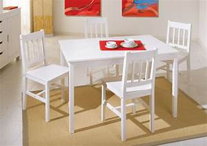 Ensemble Table 4 Chaises Paloma Blanc