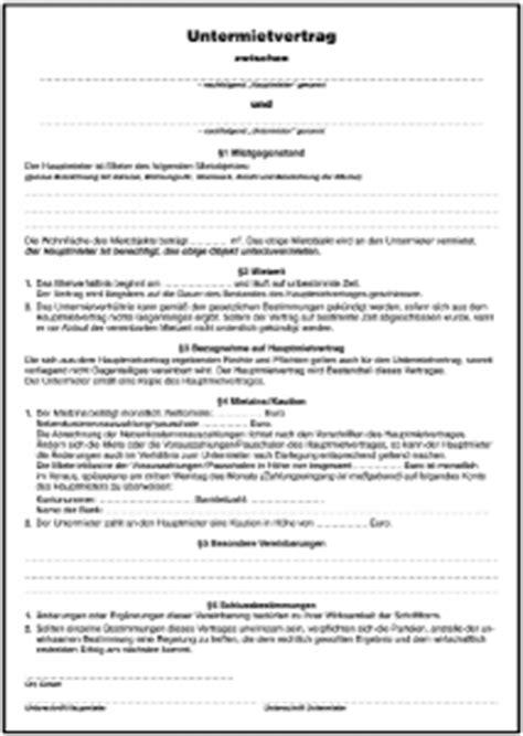 untermietvertrag vorlage pdf untermietvertrag formular gratis zum