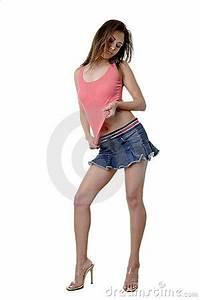Blank Business Card Stock Pretty Brunette In Mini Skirt Royalty Free Stock Images