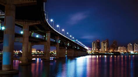 wallpaper  night city bridge city