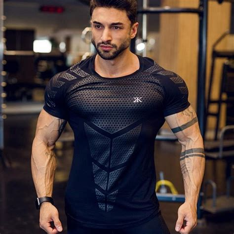 Compression Quick dry T-shirt Men Running Sport Skinny Short Tee Shirt Male Gym Fitness ...