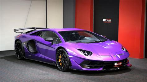 eye catching purple lamborghini aventador svj listed  sale