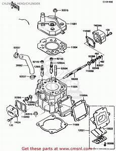 Kawasaki 1987 E2  Kx125 Cylinder Head  Cylinder