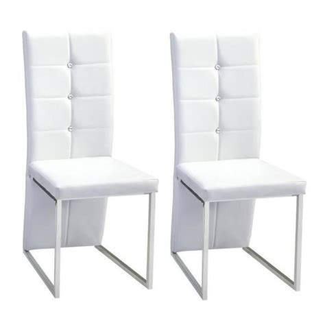 salle a manger strass bling lot de 2 chaises de salle 224 manger strass blanches achat vente chaise structure