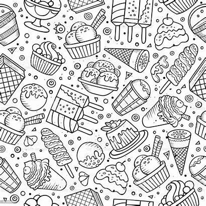 Doodles Ice Cream Pattern Seamless Mano Het