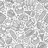 Doodles Ice Cream Seamless Drawn Candy Cartoon Gelato Cuciture Scarabocchia Fumetto Disegnato Modello Senza Mano Chocolate Caramel Cake Soap Vectors sketch template
