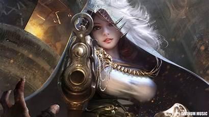 Fantasy Warrior Digital Wallpapers Gunslinger Hood Gun