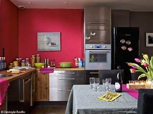 deco cuisine blanche mur rouge With murs de cuisine décoration