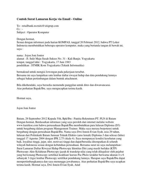 Lamaran Kerja Docx by Contoh Surat Lamaran Kerja Via Email Docx