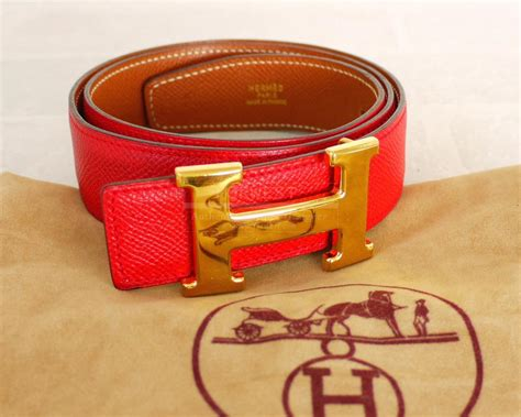 Authentic Hermes Red Brown Courchevel H Logo Reversible