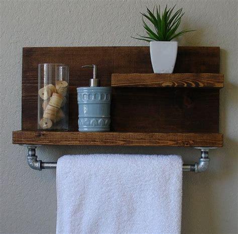 modern rustic  tier bathroom shelf   satin nickel
