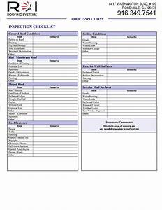 Roof Inspection Sheet  U0026 House Repair Checklist Form Simple