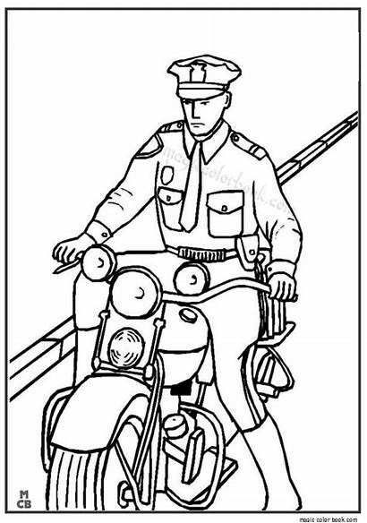 Coloring Police Pages Motorcycle Uniform Drawing Motorbikes