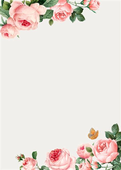 Download premium vector of Hand drawn pink roses frame on ...