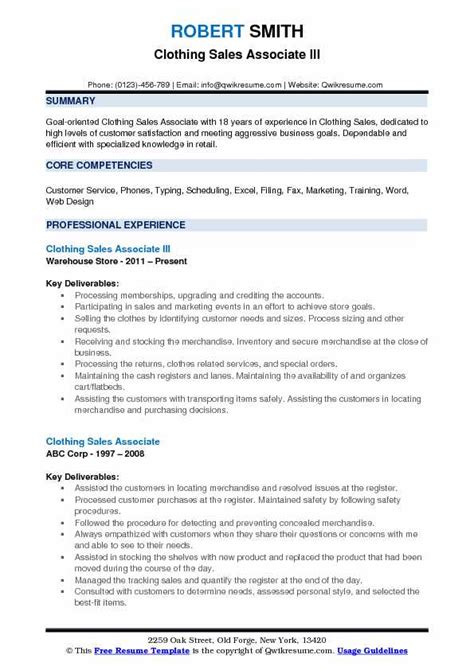 Resume For Retail Clothing Store by Clothing Sales Associate Resume Sles Qwikresume
