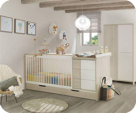 chambre evolutif lit bébé combiné évolutif lili bois et blanc avec matelas bébé