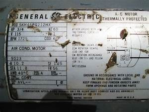 3  4 Hp General Electric Thermally Protected Electric Motor  Single Phase