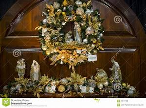 Christmas Wreath With Nativity Scene Stock Photo