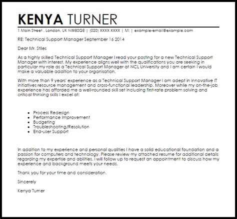 technical support manager cover letter sample cover
