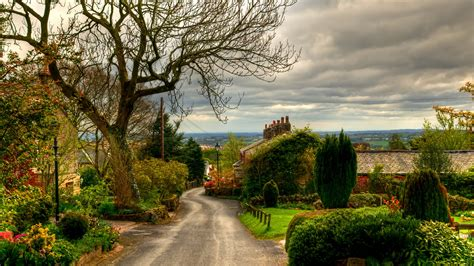 wallpaper english village view road  quaint